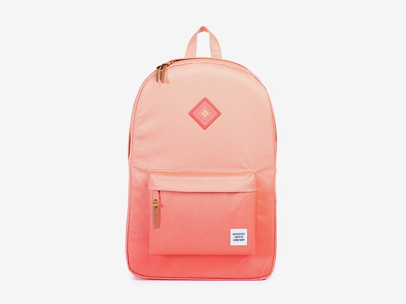 Herschel Supply — dámský batoh na záda, plátěný — oranžový — Heritage Backpack — kolekce Gradient