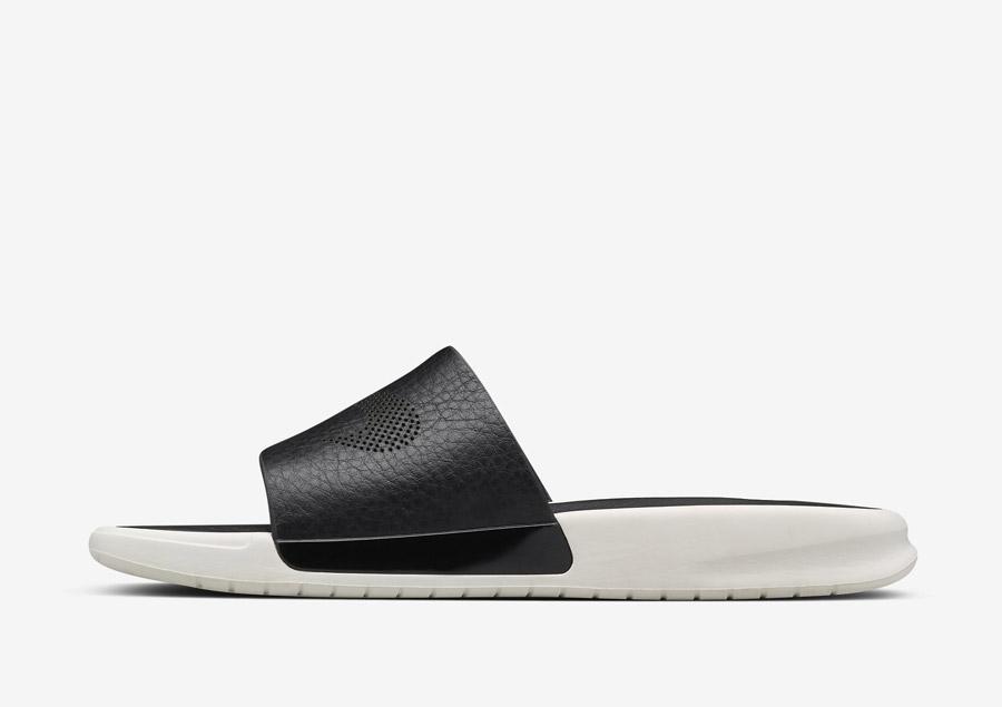 NikeLab Benassi Lux — luxusní pantofle (nazouváky), letní — dámské — černé, bílé