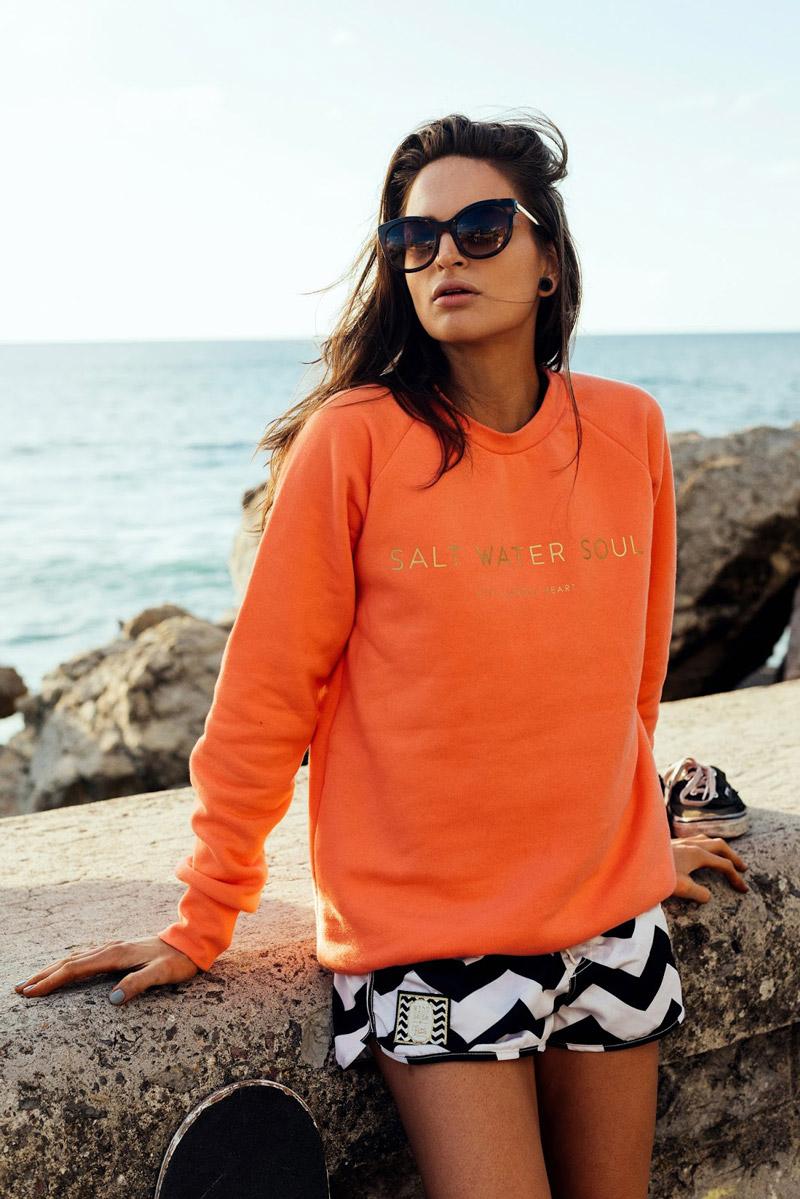 Femi Pleasure — oranžová mikina, raglánová — dámské oblečení jaro/léto — spring/summer 2016