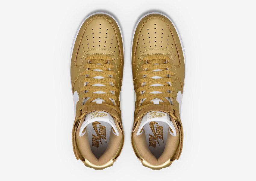 Nike Air Force 1 High — Metallic Gold — vysoké kotníkové boty — horní pohled — Nikelab