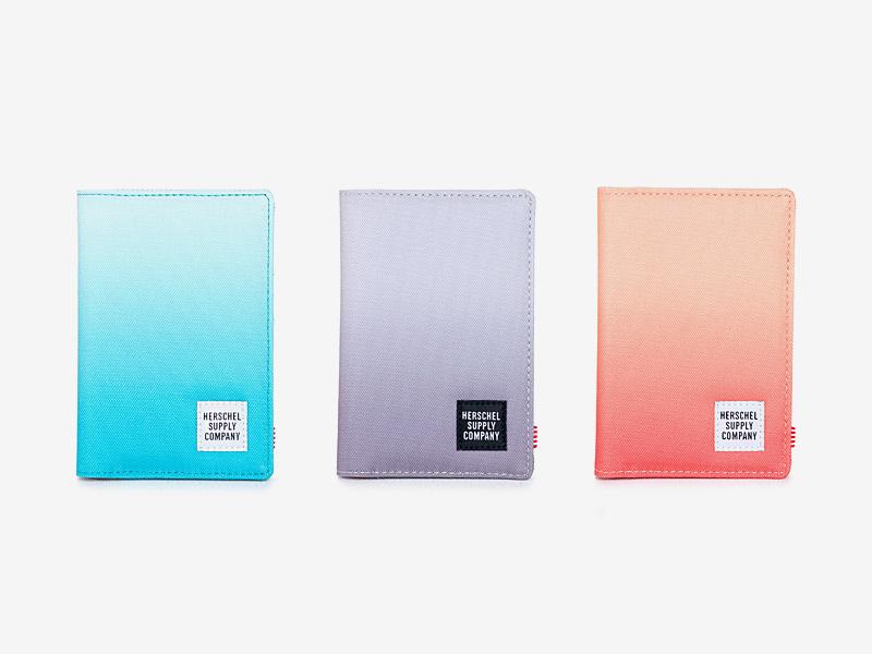 Herschel Supply — dokladovky, pouzdra na doklady — tyrkysové modré, fialové, oranžové — Raynor Passport Holder — kolekce Gradient