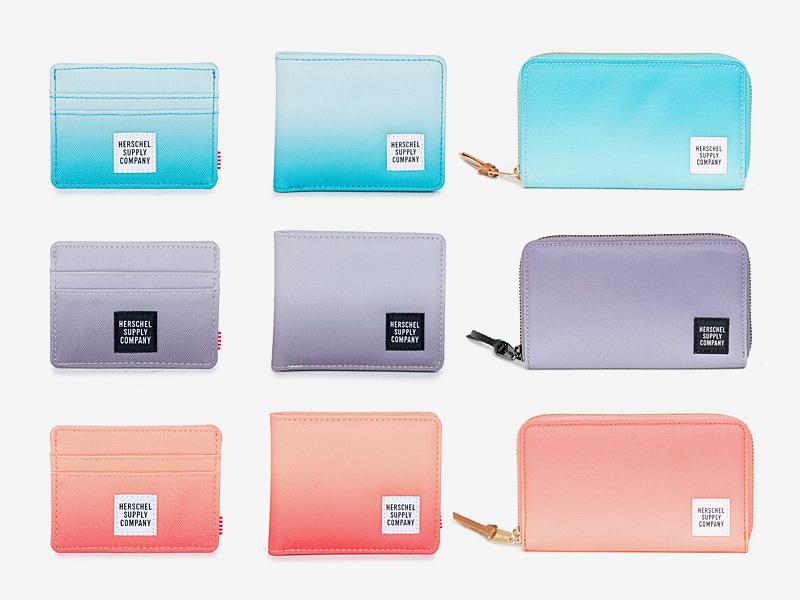 Herschel Supply — peněženky — tyrkysové modré, fialové, oranžové — Charlie, Roy, Thomas Wallet — kolekce Gradient