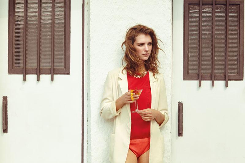 Compania Fantastica — dámské smetanové sako, šervené tričko — retro móda — lookbook — jaro/léto 2016