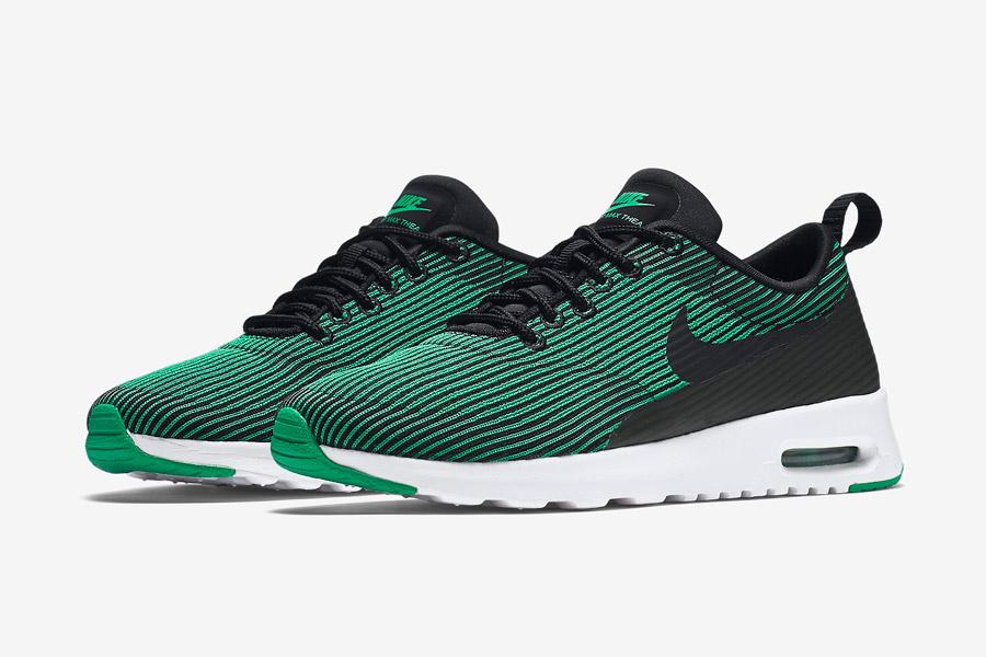 Nike Air Max Thea Jacquard — dámské boty — zelené — tenisky, sneakers s proužky — textilní, veganské