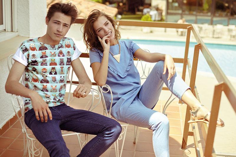 Compania Fantastica — dámská bledě modrá halenka, kalhoty — retro móda — lookbook — jaro/léto 2016
