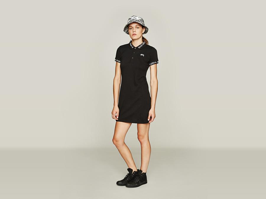 Stussy — dámské černé overalové tričko s límečkem — letní klobouk — dámské oblečení — jaro 2016