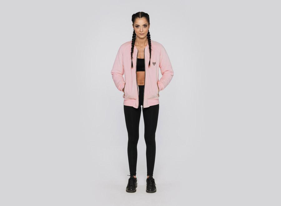 Blackfox — světle růžový bomber — dámská bunda do pasu — sportovní oblečení, streetwear, activewear