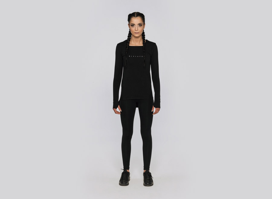 Blackfox — černé tričko s dlouhým rukávem — dámské — sportovní oblečení, streetwear, activewear