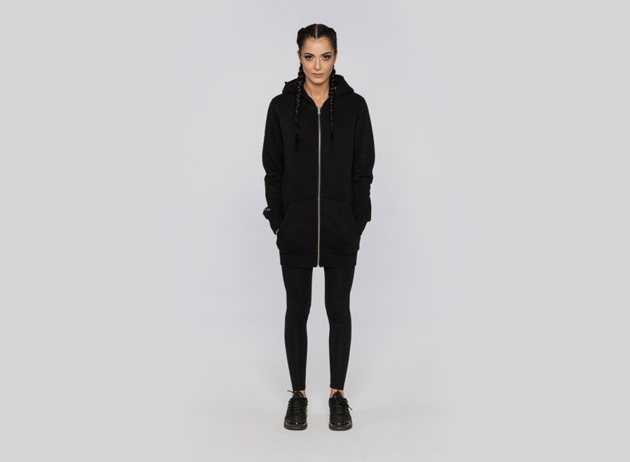 Blackfox — černá dlouhá mikina s kapucí — dámská — sportovní oblečení, streetwear, activewear