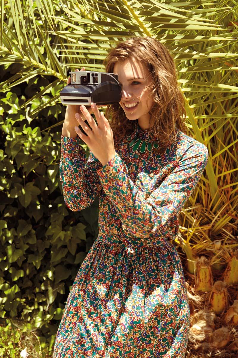 Compania Fantastica — letní šaty s květinovým motivem, dlouhý rukáv — retro móda — lookbook — jaro/léto 2016