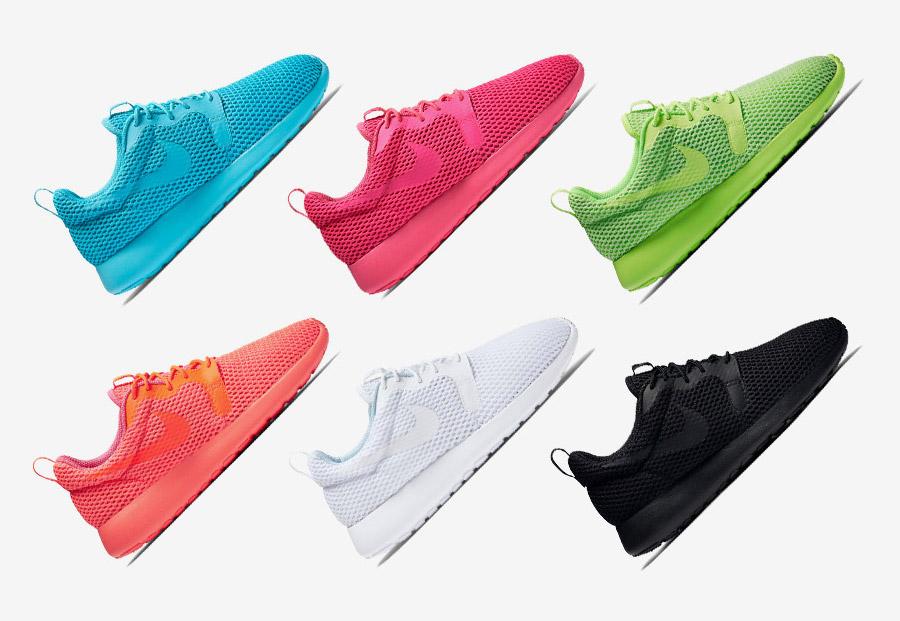 Nike Roshe One Hyper Breathe — dámské hyper prodyšné boty — modré (tyrkysové), růžové, zelené, oranžovo-růžové, bílé, černé