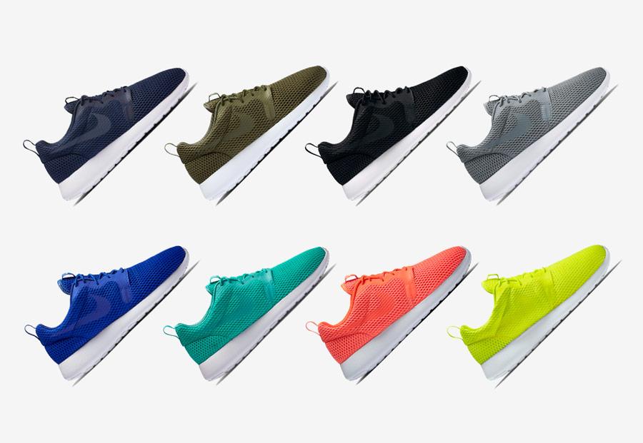 Nike Roshe One Hyper Breathe — dámské hyper prodyšné boty — modré, zeleno-hnědé, černé, šedé, modré, zelené, oranžovo-červené, zeleno-žluté
