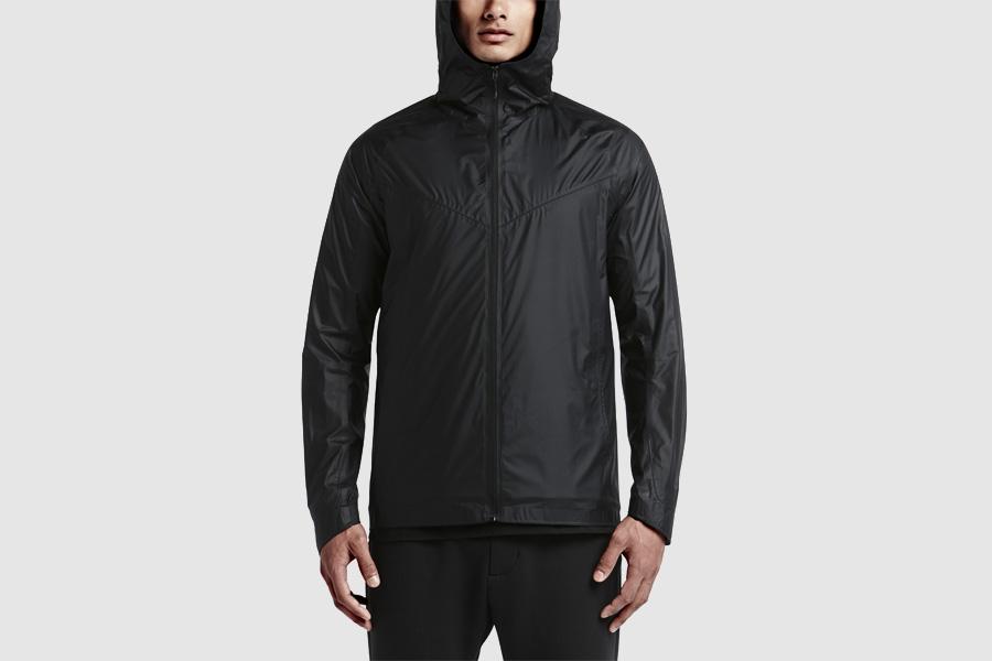 NikeLab Transform Jacket — sportovní bunda s kapucí, pánská — černá — dvojitá bunda