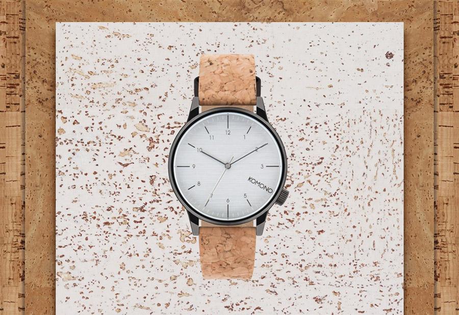 Komono Winston Cork — hodinky s korkovým náramkem — tmavě šedé ocelové pouzdro, šedý ciferník — pánské, dámské