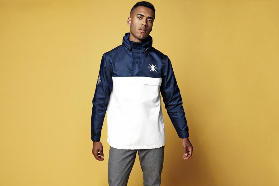 Daily Paper — modro-bílá bunda s kapucí v límci — bez hlavního zipu — jarní/letní oblečení 2016