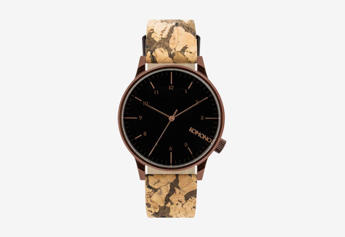 Komono Winston Cork — hodinky s korkovým náramkem — pouzdro bronzove barvy, černý ciferník — pánské, dámské