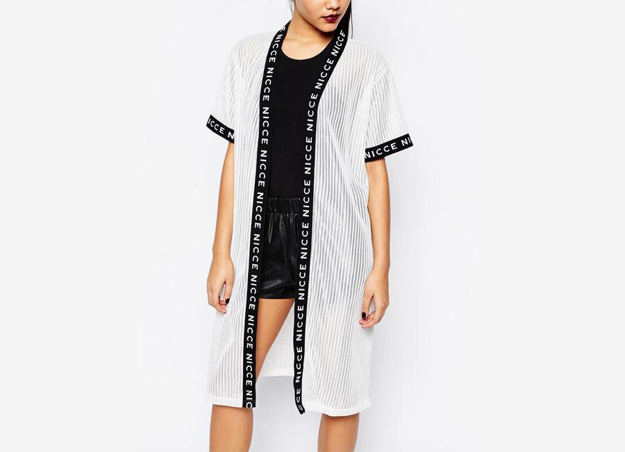 Nicce London — dámské kimono — bílé proužkované průhledné — dámské — dámské jarní/letní oblečení