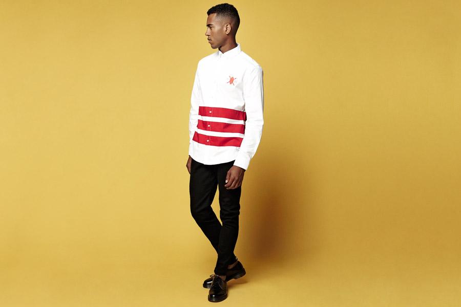 Daily Paper — bílá košile s červenými pruhy — dlouhý rukáv — jarní/letní oblečení 2016