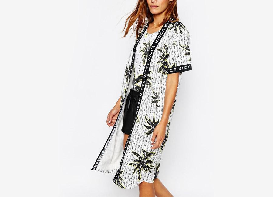 Nicce London — dámské kimono — bílé, palmový motiv — dámské — dámské jarní/letní oblečení