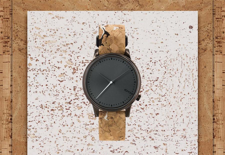 Komono Estelle Cork — hodinky s korkovým náramkem — pouzdro bronzové barvy, šedý ciferník — dámské