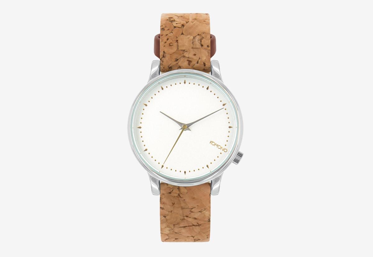 Komono Estelle Cork — hodinky s korkovým náramkem — šedé ocelové pouzdro, bílý ciferník — dámské