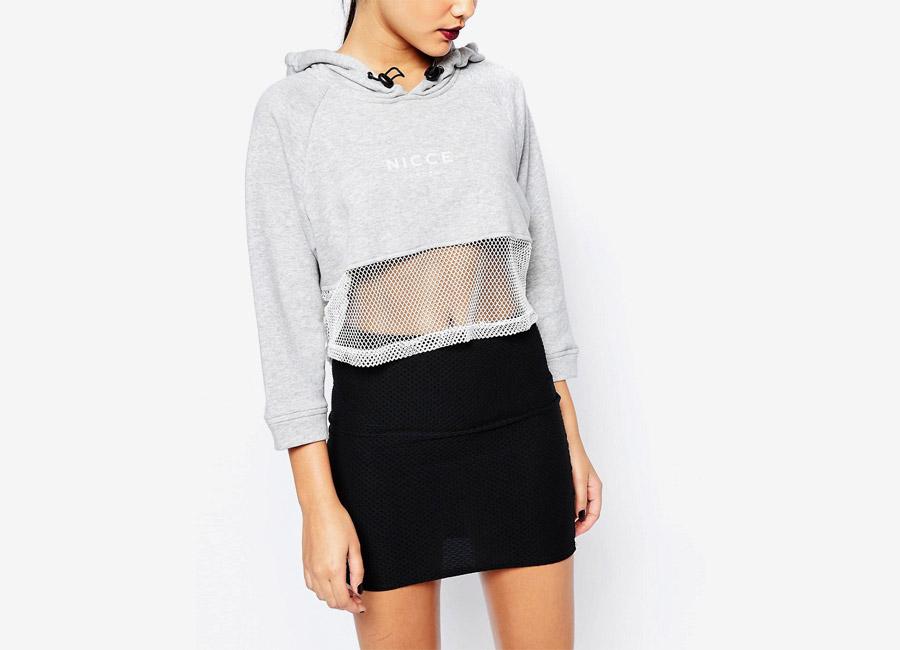 Nicce London — dámská šedá mikina do pasu s kapucí — síťkový spodek — černá průhledná sukně — dámské jarní/letní oblečení