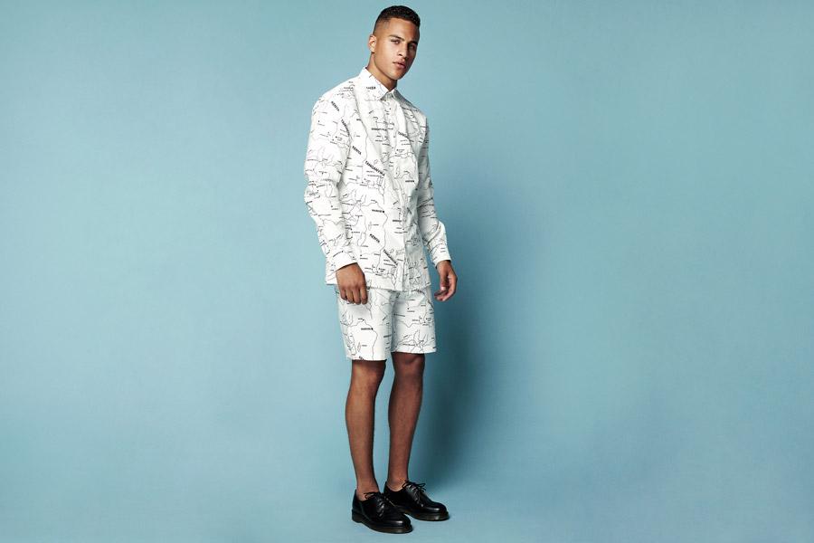 Daily Paper — pánská bílá košile s potiskem, dlouhý rukáv — pánské bílé šortky s potiskem — jarní/letní oblečení 2016