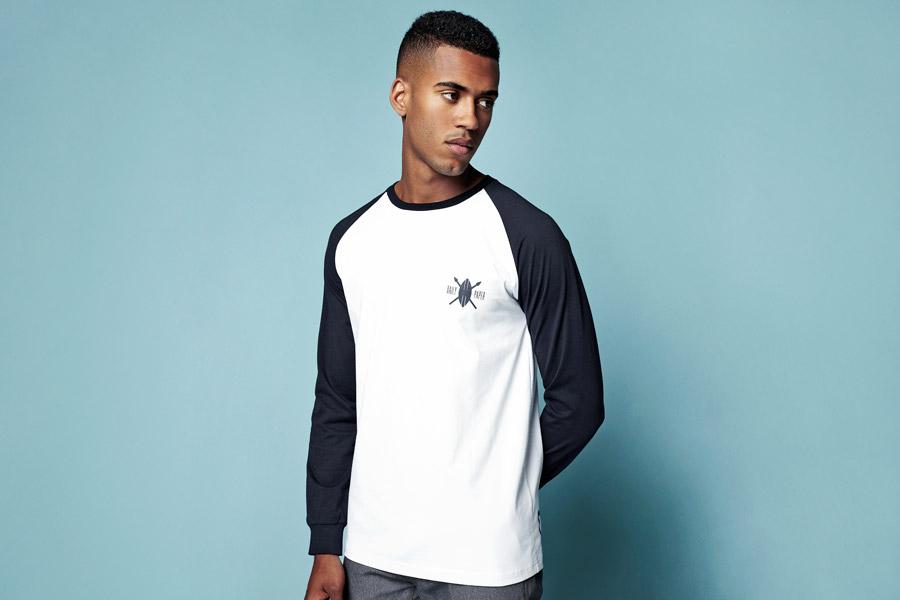 Daily Paper — pánské bílé tričko — modré dlouhé rukávy — jarní/letní oblečení 2016