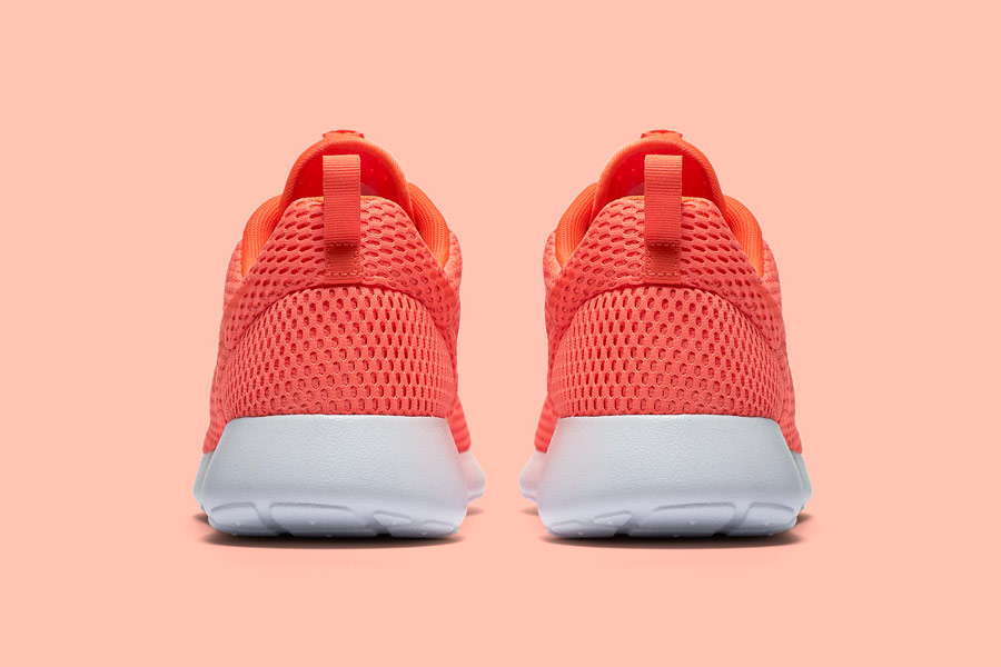 Nike Roshe One Hyper Breathe — zadní pohled — oranžové, karmínové, orange, crimson