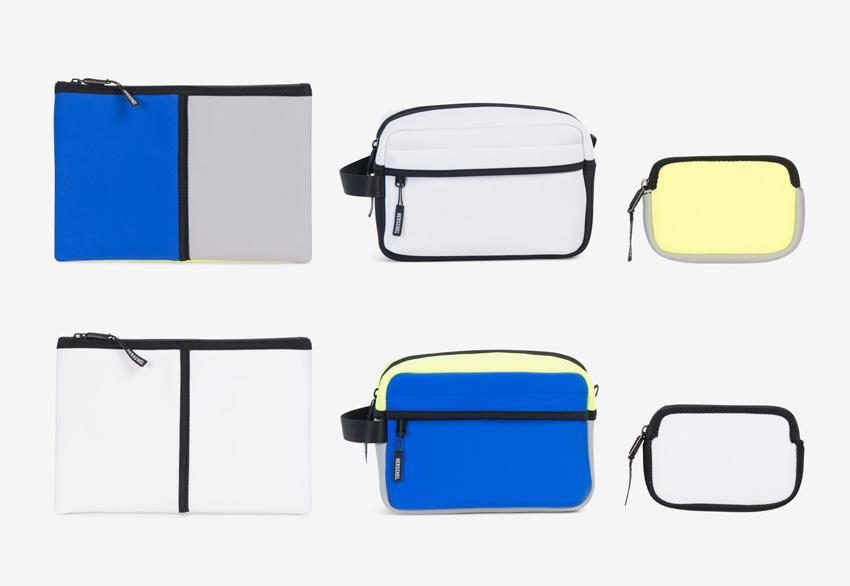 Herschel Supply — neoprénové doplňky — psaníčka, taštičky, peněženky — bílé, modré, šedé, žluto-zelené, pastelové