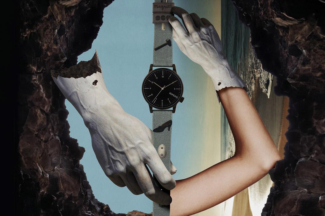 Komono x René Magritte — hodinky Winston — pánské, dámské — surrealistické motivy