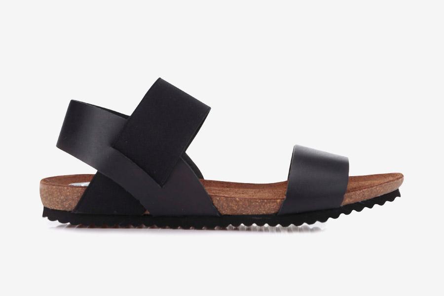 OJJU — dámské sandály — letní — černé — kožené, korková podrážka
