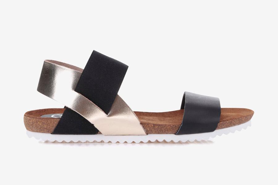OJJU — dámské sandály — letní — černé, zlaté — kožené, korková podrážka
