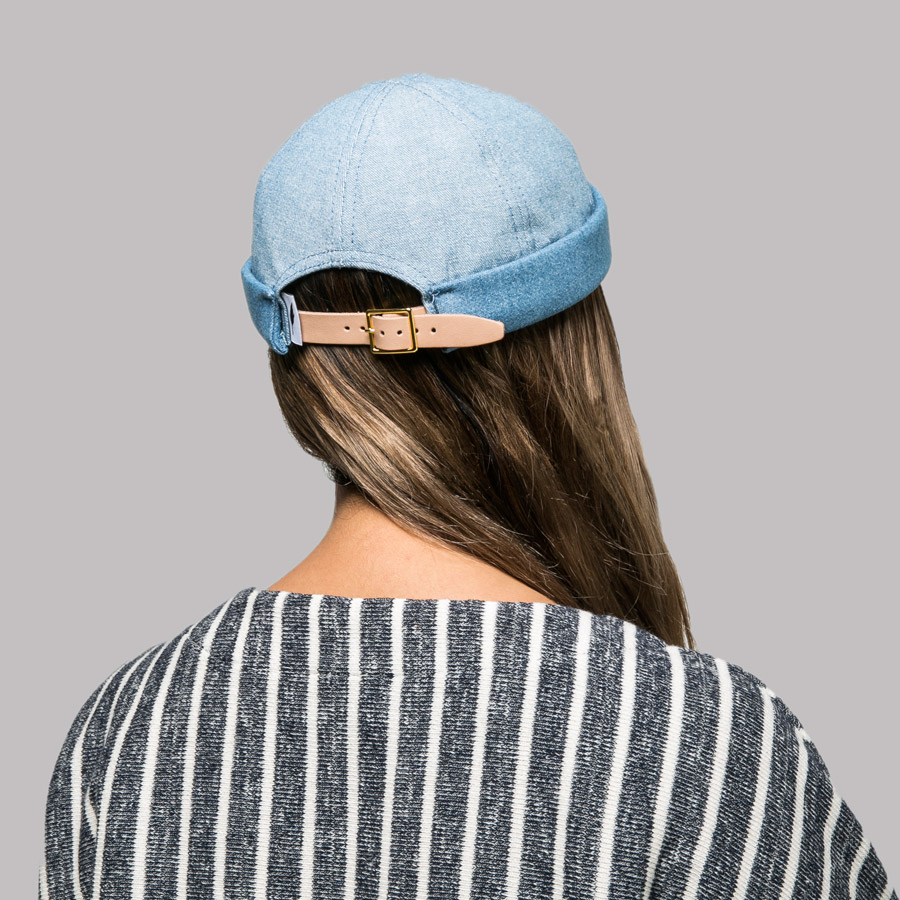 Publish — Ezera Roll Cap — snapback čepice bez kšiltu — modrá — jeansová, džínová — snapback hat