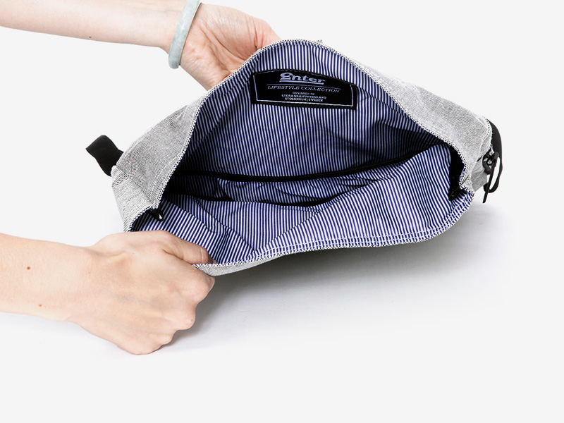 Enter — plátěný batoh — přeýbací — šedý — Fold Top Backpack