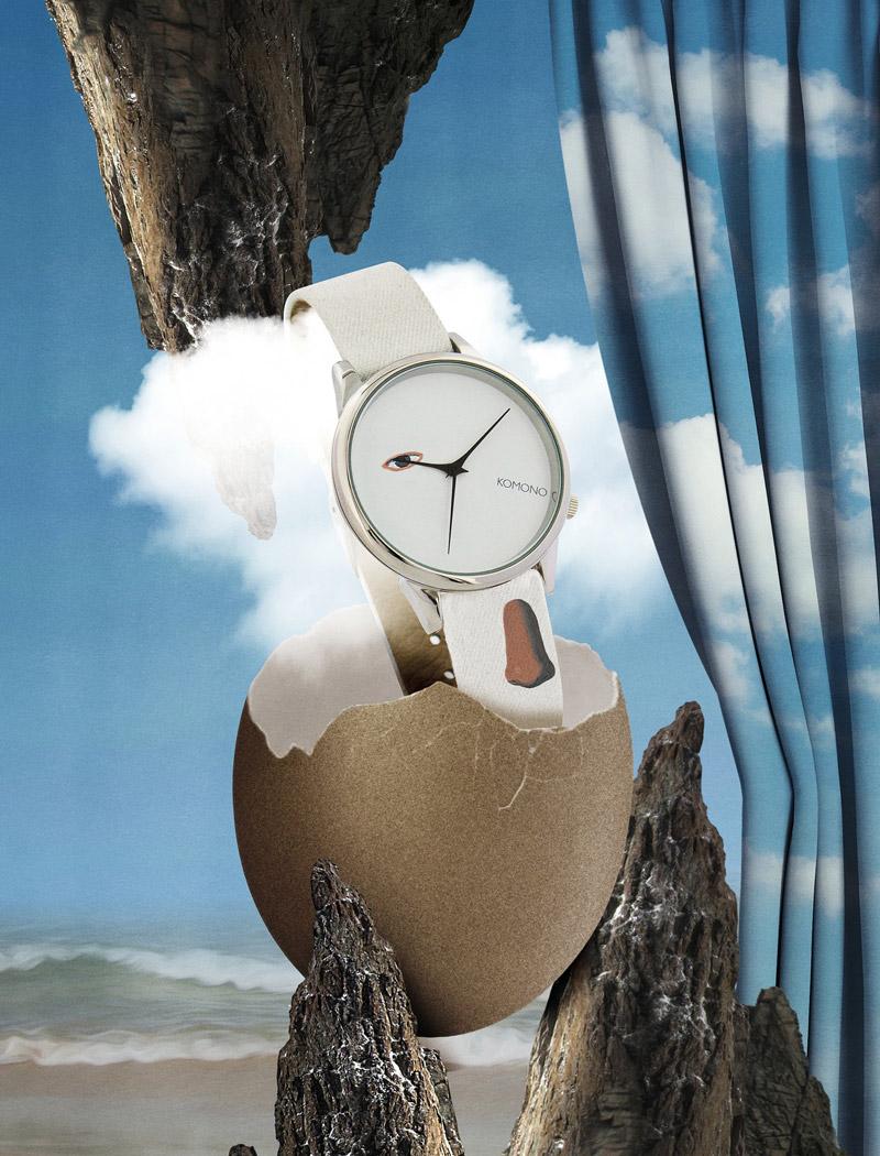Komono x René Magritte — hodinky Estelle — dámské — surrealistické motivy