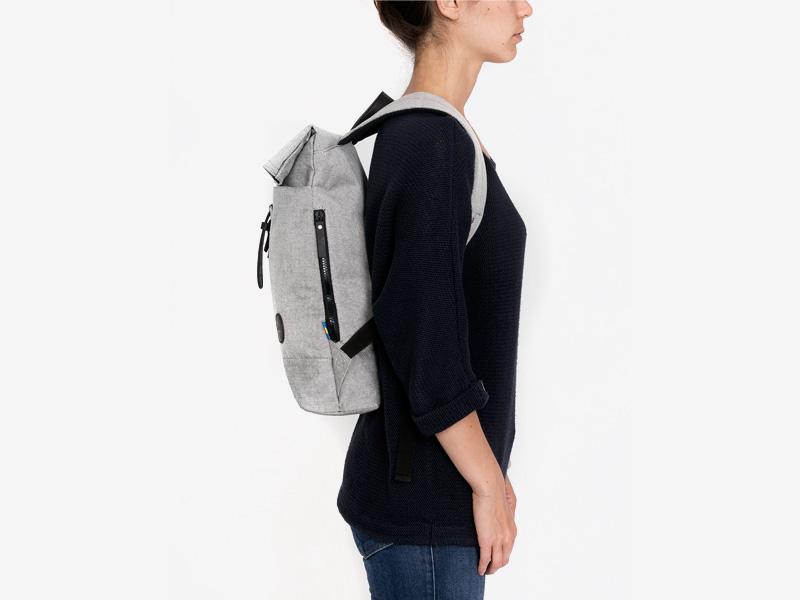 Enter — plátěný batoh — dámský — přeýbací — šedý — Fold Top Backpack