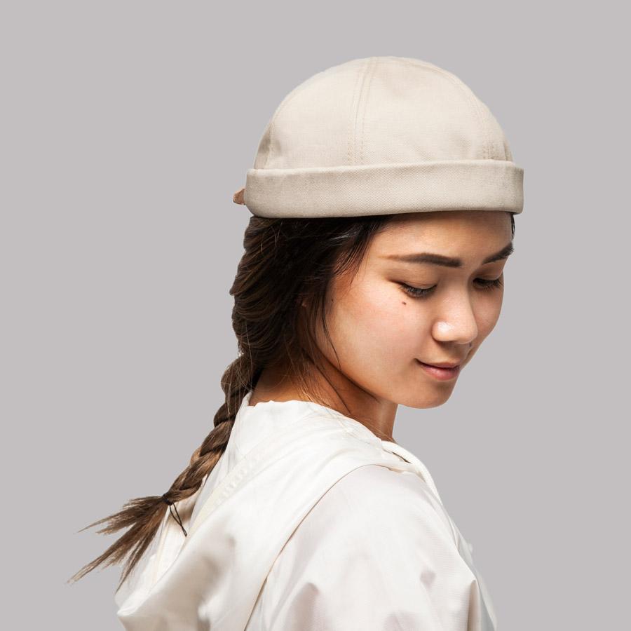 Publish — Calyb Roll Cap — snapback čepice bez kšiltu — světle béžová, smetanová — plátěná — snapback hat
