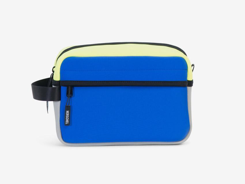 Herschel Supply — Chapter Travel Kit — cestovní toaletní taštička, pouzdro — modrá, žlutá, pastelová