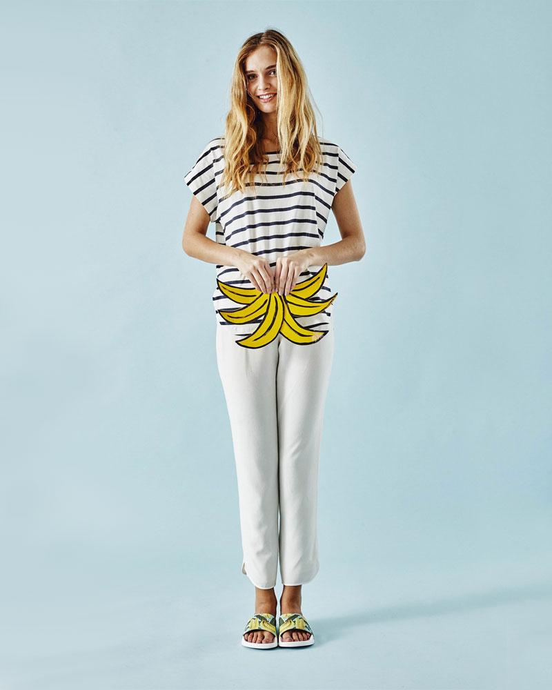Slydes — dámské pantofle — bílé, barevné s banány — nazouváky, slides