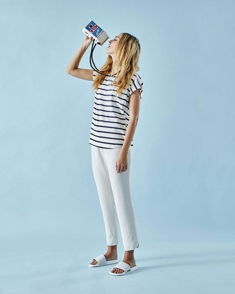 Slydes — dámské pantofle — bílé, čedé — nazouváky, slides