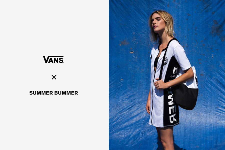 Vans x Summer Bummer — letní šaty na zip — bílé, černo-bílé — Sum Bum Zip Dress
