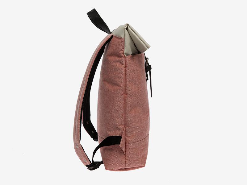 Enter — plátěný batoh — přeýbací — lososový, bledě červený — Fold Top Backpack