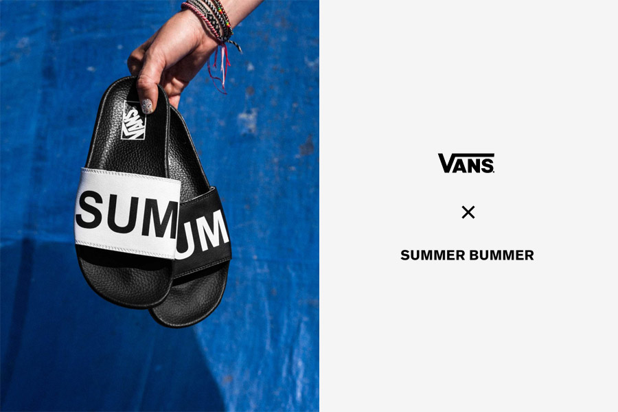 Vans x Summer Bummer — dámské pantofle Slide-On Sandals — černé, bílé