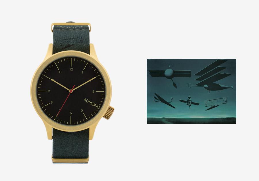 Komono x René Magritte — hodinky Magnus — pánské, dámské — surrealistické motivy — Black Flag — Černá vlajka