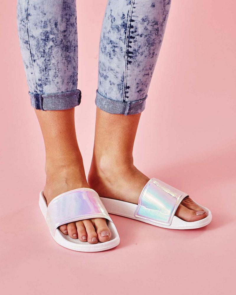 Slydes — dámské pantofle — bílé, duhové — nazouváky, slides