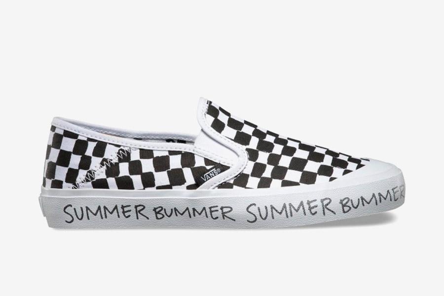 Vans x Summer Bummer — dámské boty bez tkaniček Slip-On — kecky bez tkaniček — černo-bílé, vzor šachovnice