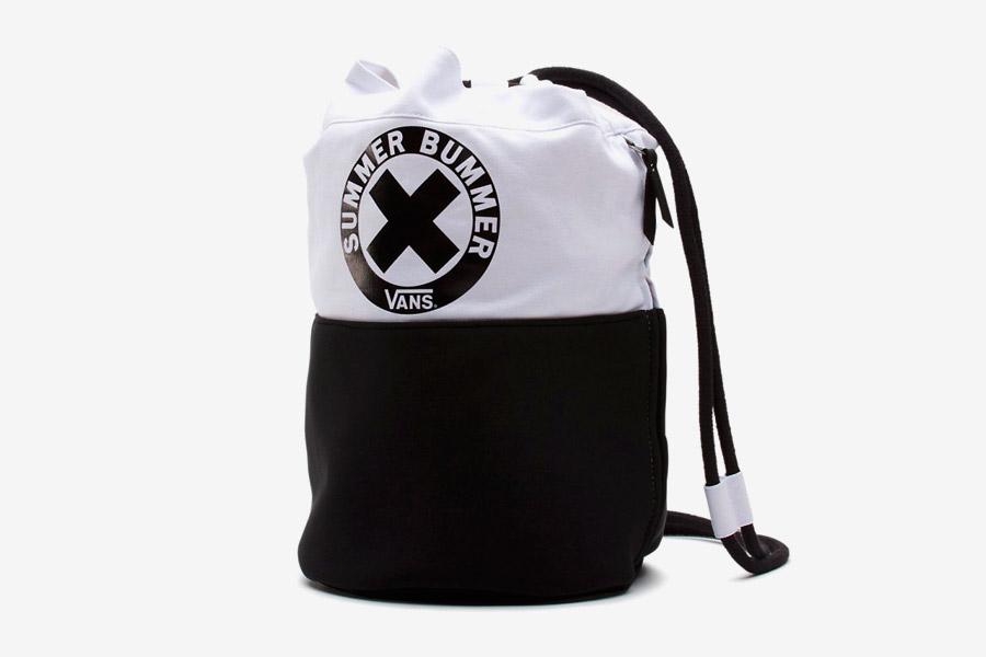 Vans x Summer Bummer — plátěný batoh Sum Bum Tote Bag — černý, bílý