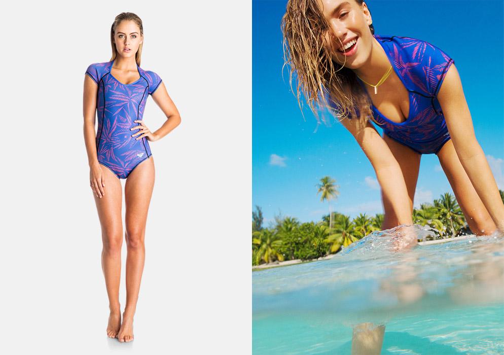 Roxy — dámské jednodílné plavky — surfařské — modré, palmový motiv — Pop Surf 2016 — Polynesia Springsuit — swimwear