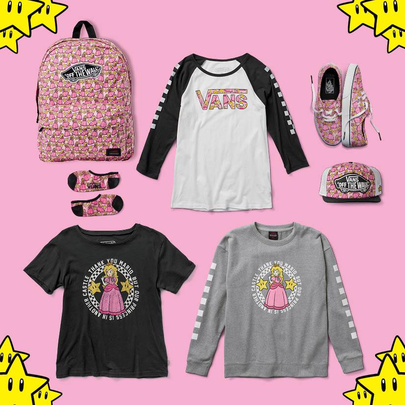 Vans x Nintendo — dámské oblečení a boty — tričko, mikina, tenisky Authentic, ponožky, kšiltovka, batoh — Princess Peach — geek